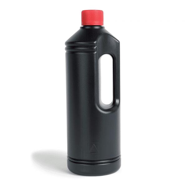 PE-Rundflasche 1 Liter mit Griff und rotem Deckel