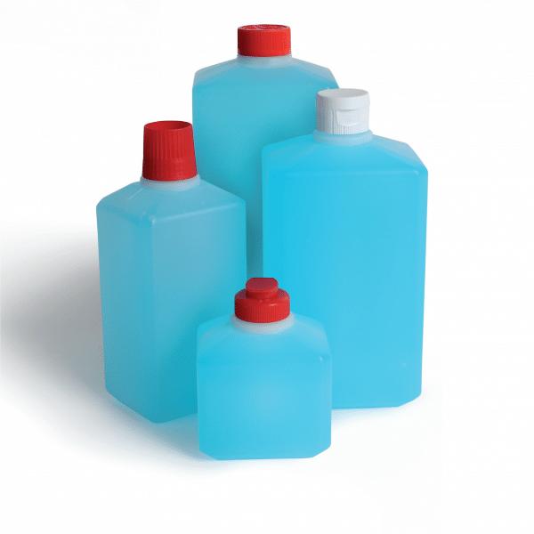 PE-Rechteckflaschen in verschiedenen Größen zur Befüllung mit Flüssigkeiten