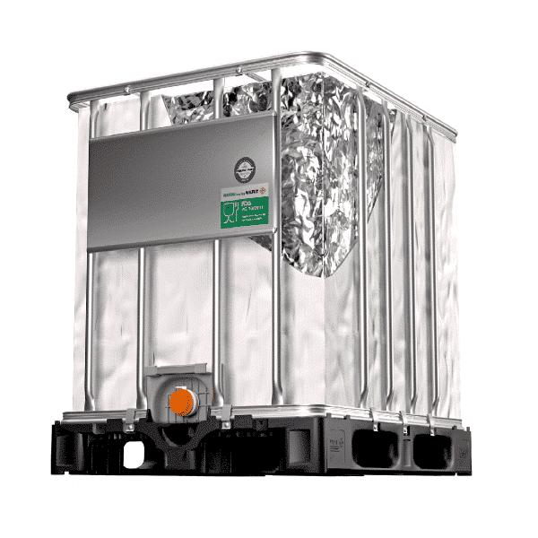 Dieses Bild zeigt einen Nutriline Aseptic IBC Container, welcher für Lebensmittel verwendet wird